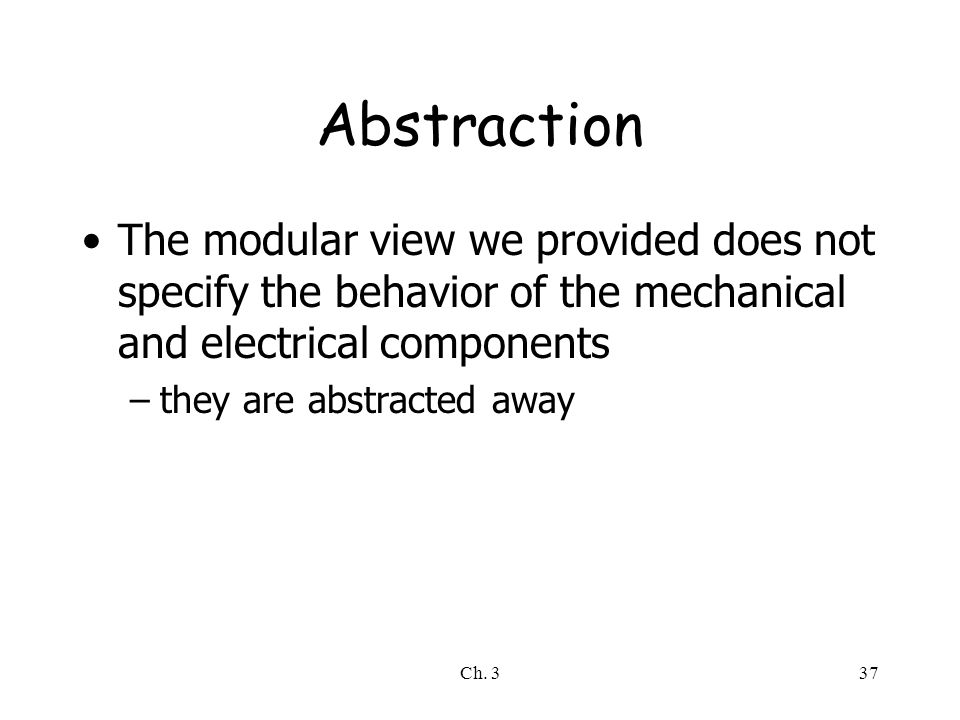 Ch. 337 Abstraction The modular view we provided does not specify the behavior of the mechanical and electrical components –they are abstracted away