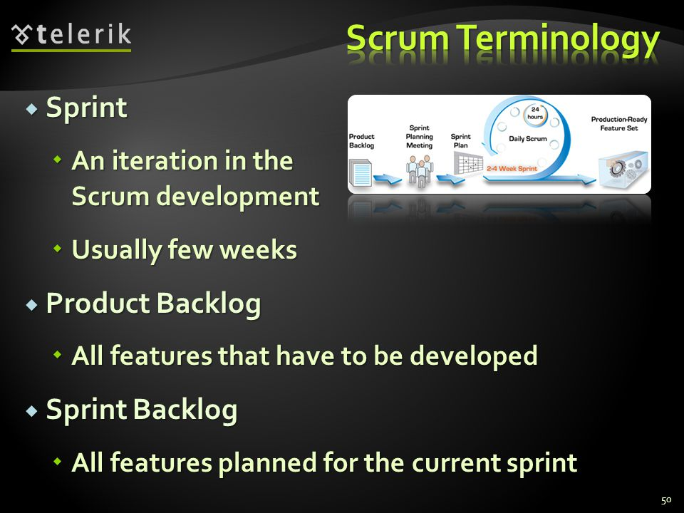  Sprint  An iteration in the Scrum development  Usually few weeks  Product Backlog  All features that have to be developed  Sprint Backlog  All features planned for the current sprint 50