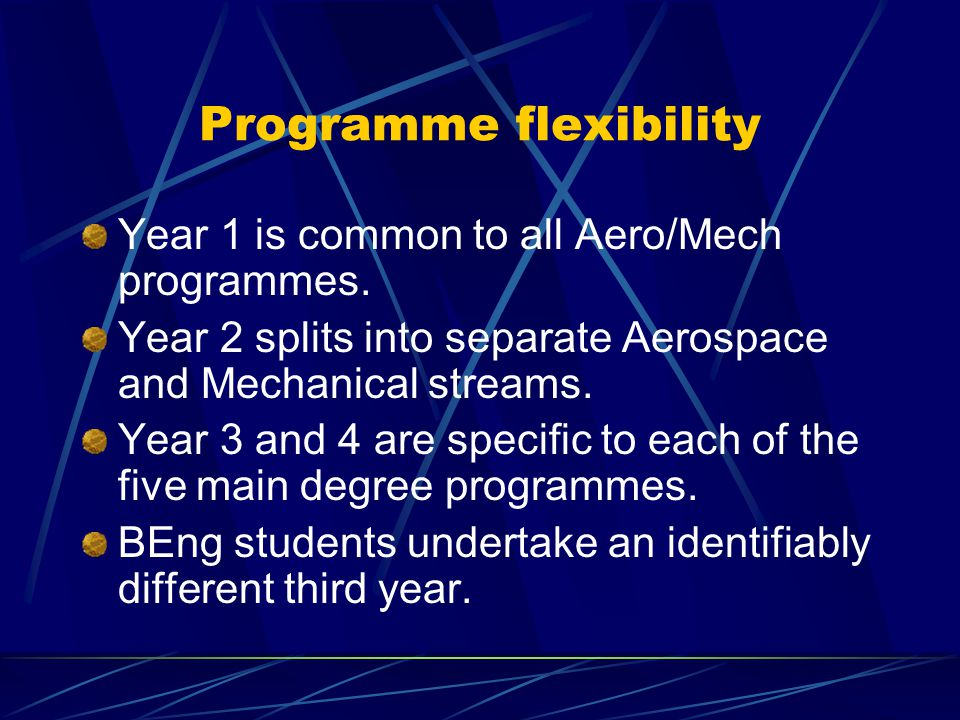 Programme flexibility Year 1 is common to all Aero/Mech programmes.