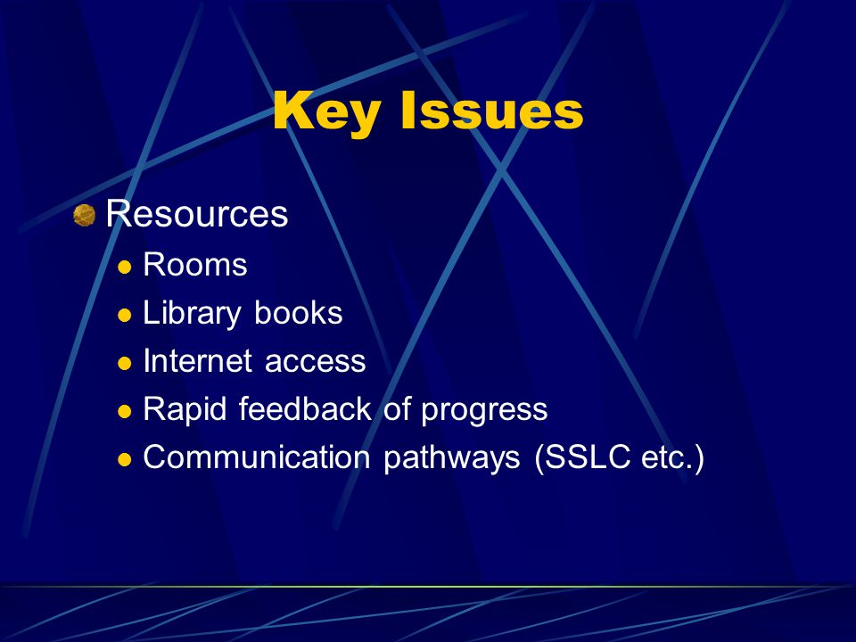 Key Issues Resources Rooms Library books Internet access Rapid feedback of progress Communication pathways (SSLC etc.)