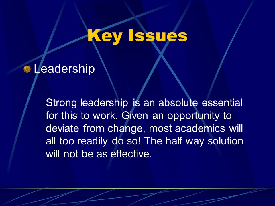 Key Issues Leadership Strong leadership is an absolute essential for this to work.
