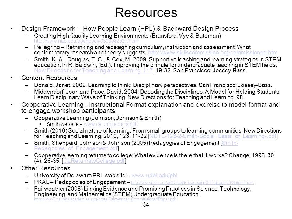 34 Resources Design Framework – How People Learn (HPL) & Backward Design Process –Creating High Quality Learning Environments (Bransford, Vye & Batema