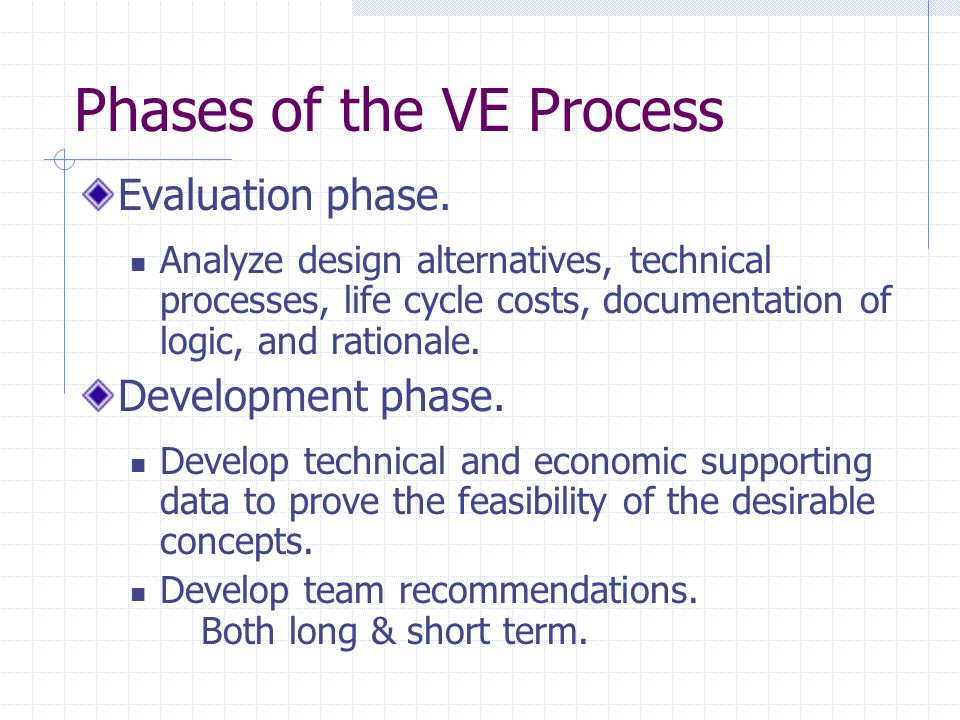 Phases of the VE Process Evaluation phase.