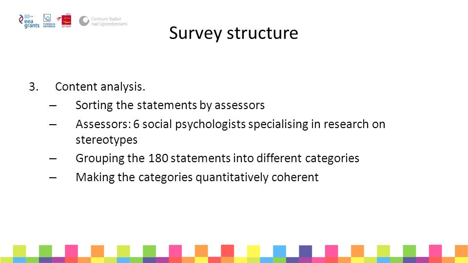 Survey structure 3.Content analysis. – Sorting the statements by assessors – Assessors: 6 social psychologists specialising in research on stereotypes