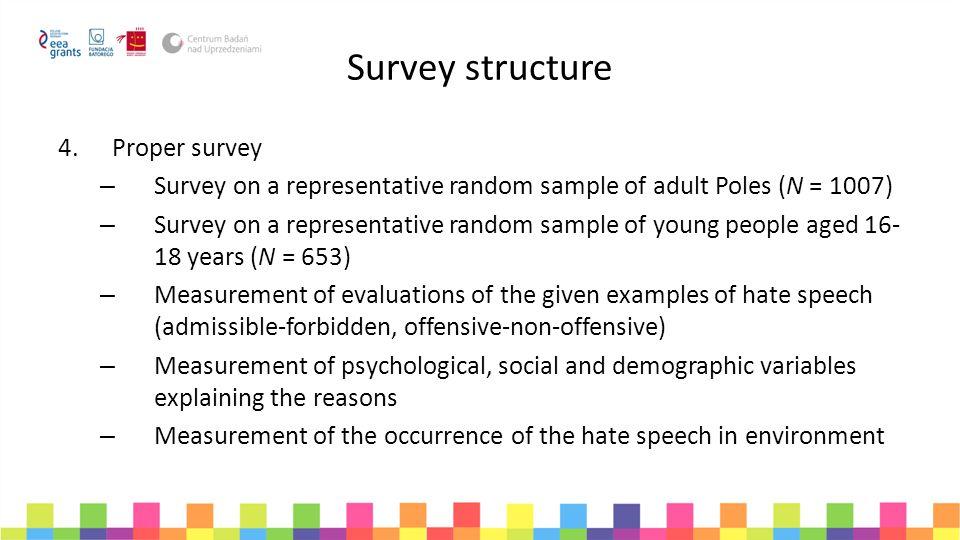 Survey structure 4.Proper survey – Survey on a representative random sample of adult Poles (N = 1007) – Survey on a representative random sample of yo