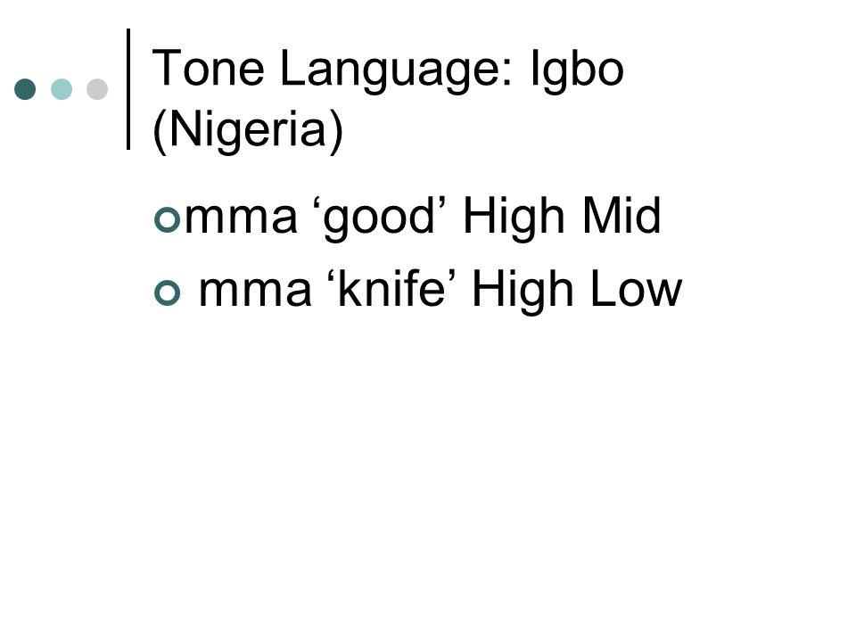 Tone Language: Igbo (Nigeria) mma 'good' High Mid mma 'knife' High Low