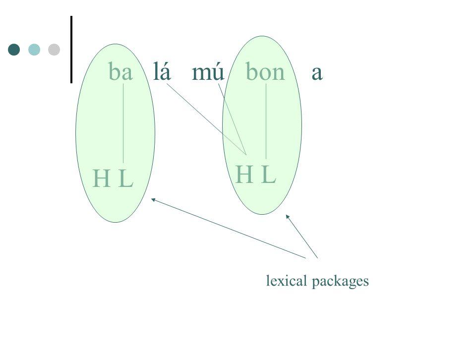 ba lá mú bon a H L lexical packages