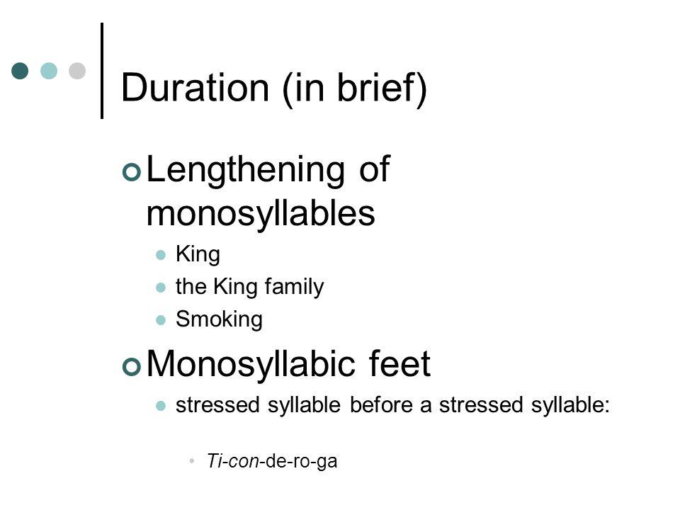 Duration (in brief) Lengthening of monosyllables King the King family Smoking Monosyllabic feet stressed syllable before a stressed syllable: Ti-con-de-ro-ga