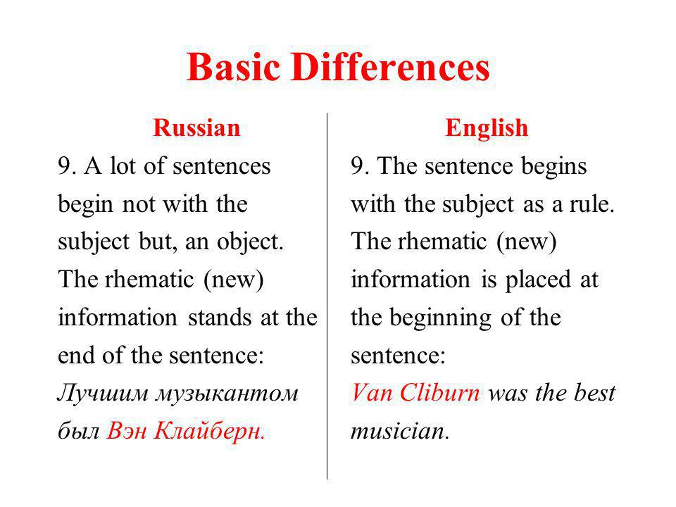 Basic Differences Russian 9. A lot of sentences begin not with the subject but, an object.