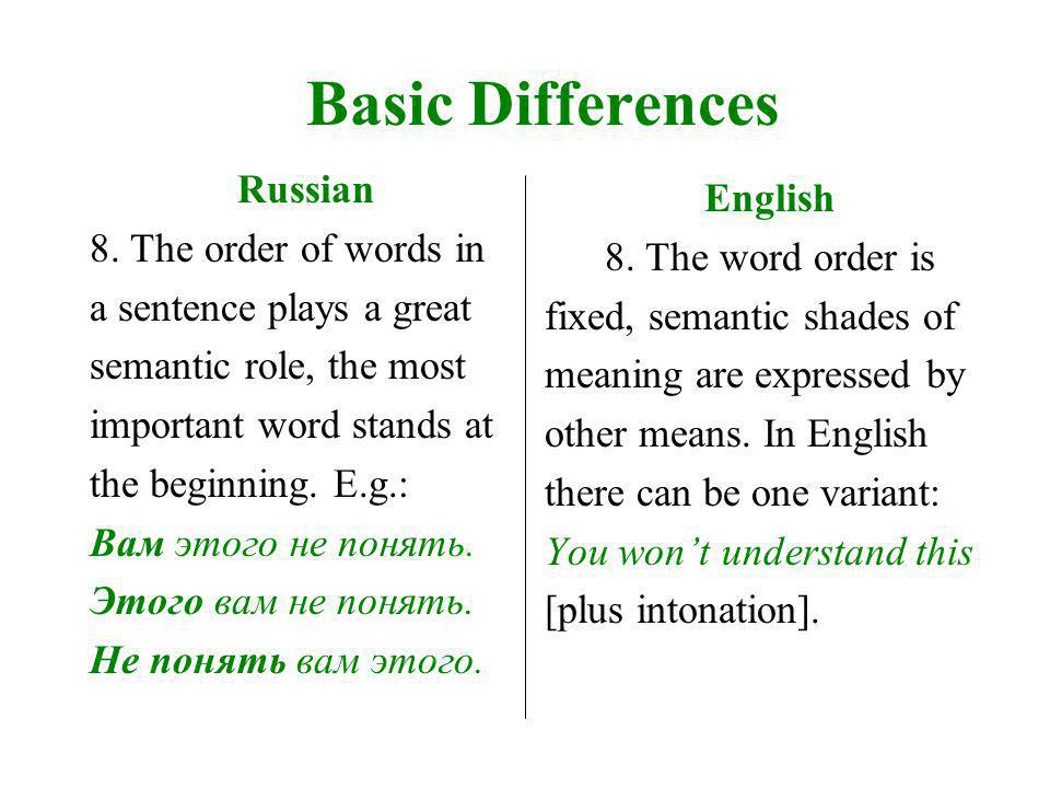 Basic Differences Russian 9.A lot of sentences begin not with the subject but, an object.