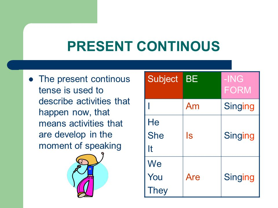 PRESENT CONTINOUS The present continous tense is used to describe activities that happen now, that means activities that are develop in the moment of