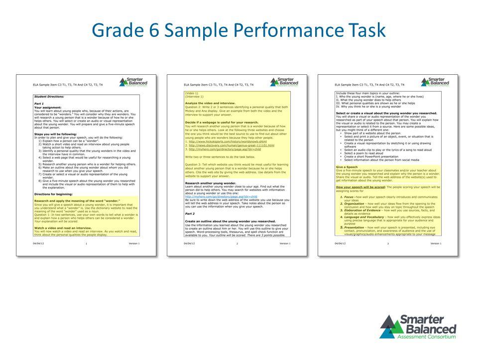 Grade 6 Sample Performance Task