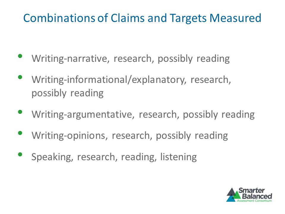 Combinations of Claims and Targets Measured Writing-narrative, research, possibly reading Writing-informational/explanatory, research, possibly readin