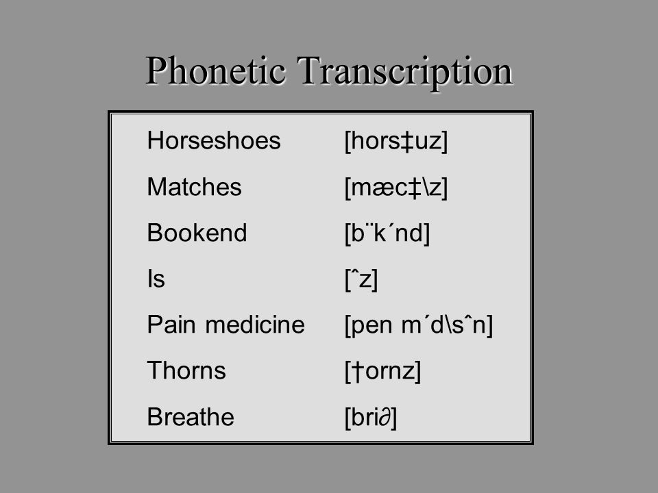 Phonetic Transcription Horseshoes [hors‡uz] Matches [mæc‡\z] Bookend [b¨k´nd] Is [ˆz] Pain medicine [pen m´d\sˆn] Thorns[†ornz] Breathe[bri∂]