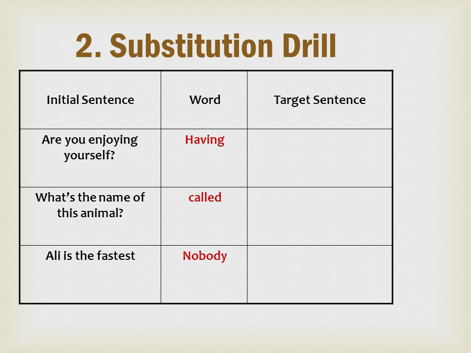 2. Substitution Drill Target SentenceWordInitial Sentence HavingAre you enjoying yourself? calledWhat's the name of this animal? NobodyAli is the fast