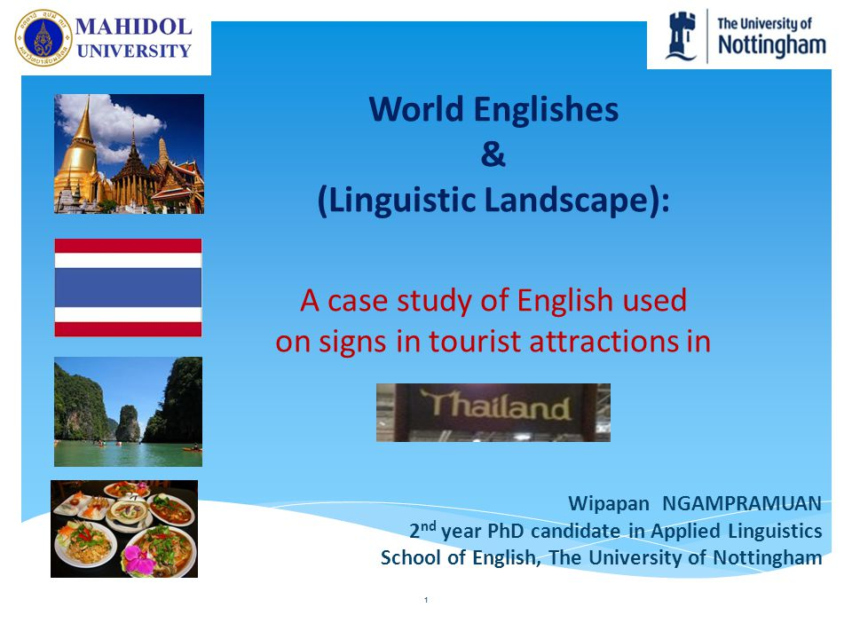 My presentation World Englishes (& Linguistic Landscape) Research aims & research questions Research Methodology Preliminary results Contribution to Thailand 2