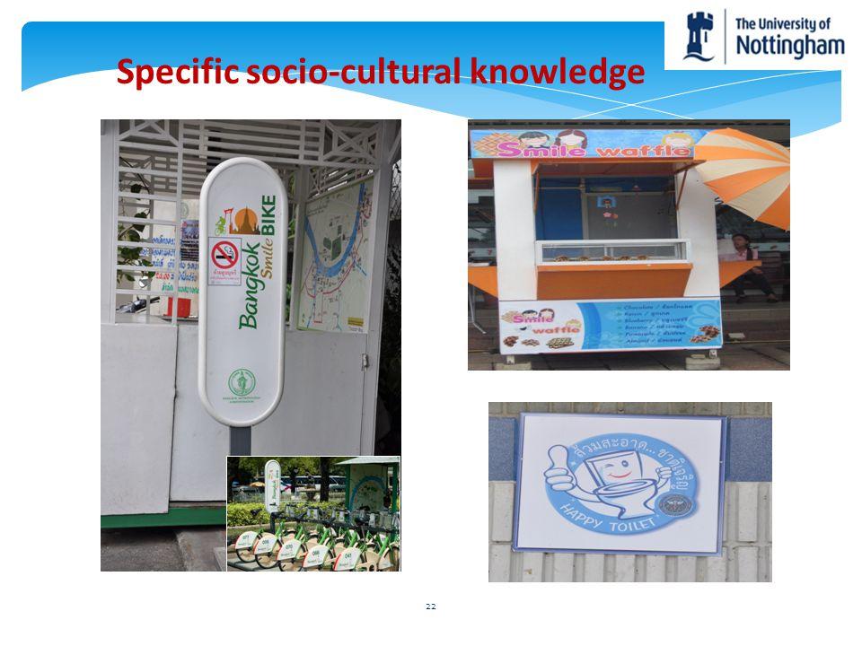 Specific socio-cultural knowledge 22