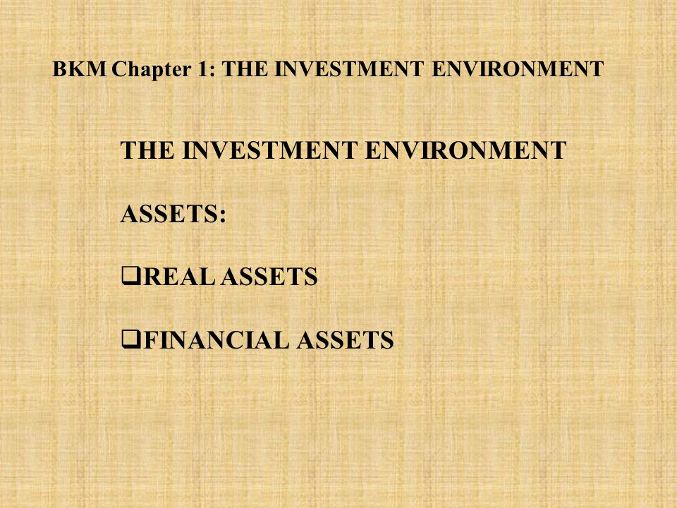 THE INVESTMENT ENVIRONMENT ASSETS:  REAL ASSETS  FINANCIAL ASSETS BKM Chapter 1: THE INVESTMENT ENVIRONMENT