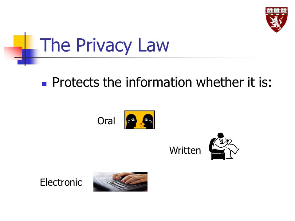 The Privacy Law Protects the information whether it is: Oral Written Electronic