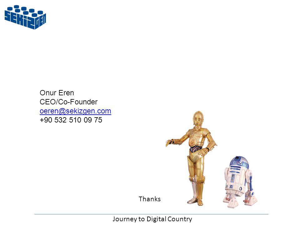 Onur Eren CEO/Co-Founder oeren@sekizgen.com +90 532 510 09 75 Journey to Digital Country Thanks