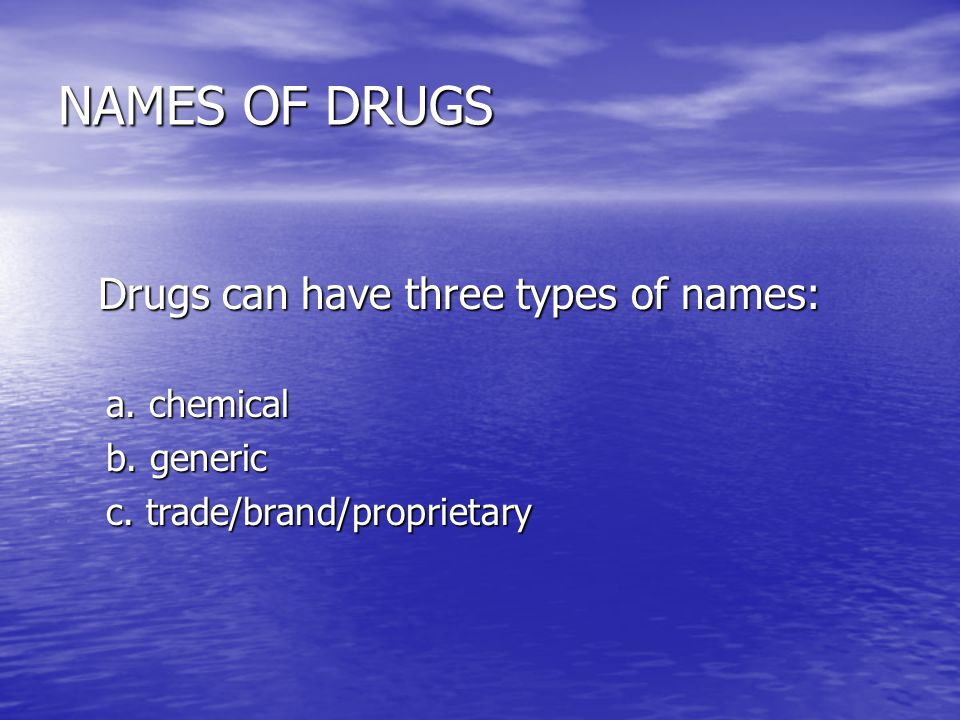 NAMES OF DRUGS Drugs can have three types of names: Drugs can have three types of names: a. chemical b. generic c. trade/brand/proprietary