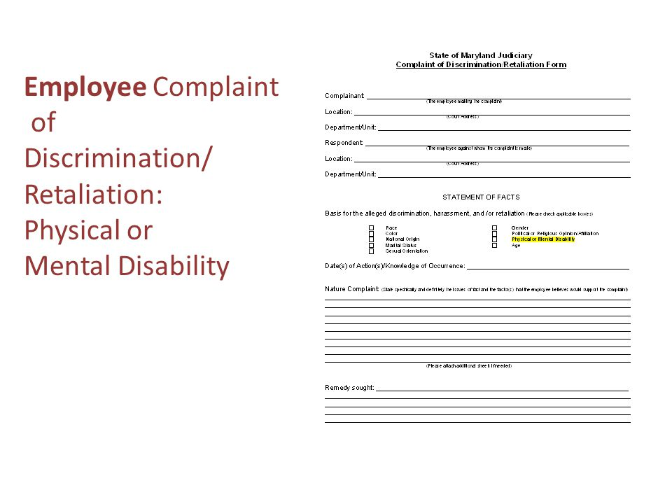 Employee Complaint of Discrimination/ Retaliation: Physical or Mental Disability