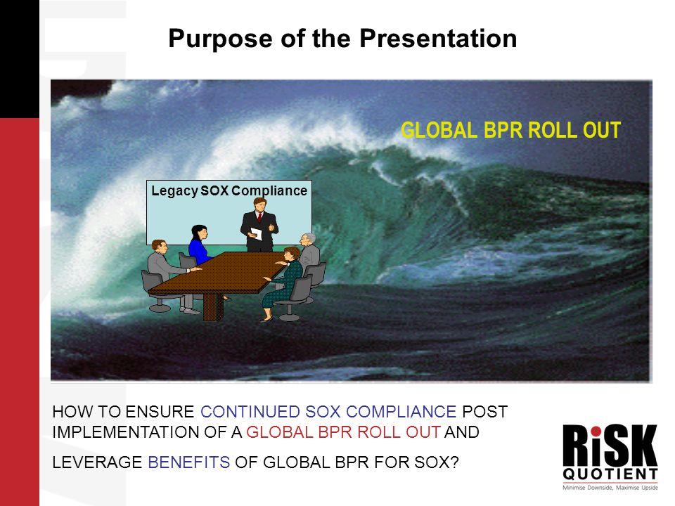 Project Benefits of SOX COE Provides consistency: interpretation of standards, documentation approach, etc.
