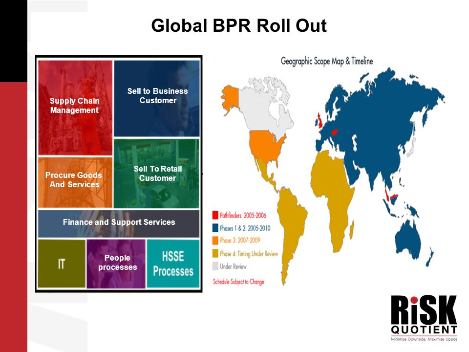 …….Global BPR Roll Out Current State (2004) 158 ERPs 120 Management Information (MI) Systems 1200 IT applications tightly connected to ERP (out of 6000+ applications) Multiple business processes Global SAP End-State (2012) <10 ERPs with standard SAP configuration and data supporting global business processes Standardised Global MI 100-200 IT applications tightly connected to Global SAP