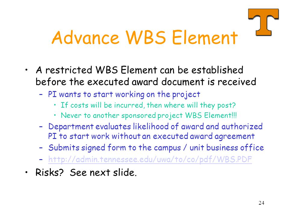 24 Advance WBS Element A restricted WBS Element can be established before the executed award document is received –PI wants to start working on the project If costs will be incurred, then where will they post.