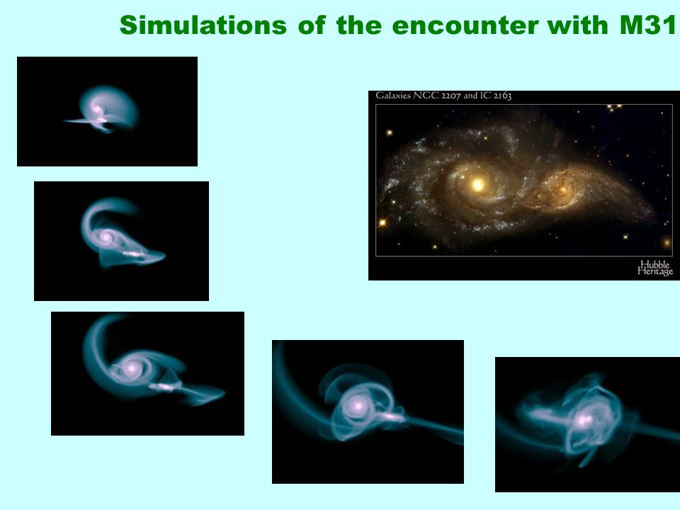 30 Simulations of the encounter with M31