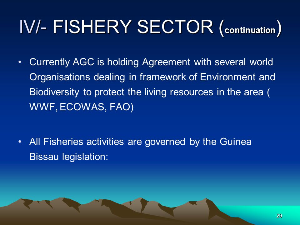 28 IV/- FISHERY SECTOR  Fisheries ressources constitute the second wealth of the Common Exploitation Zone  In 1997 AGC signed an agreement with the two Ministeries in charge of fischiries of Senegal and Guinea Bissau:  The Agreement gives full power the two states to explore the living resources in the Common Area, under AGC Supervision