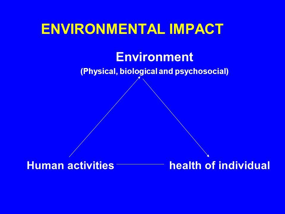 ENVIRONMENTAL IMPACT Environment (Physical, biological and psychosocial) Human activitieshealth of individual