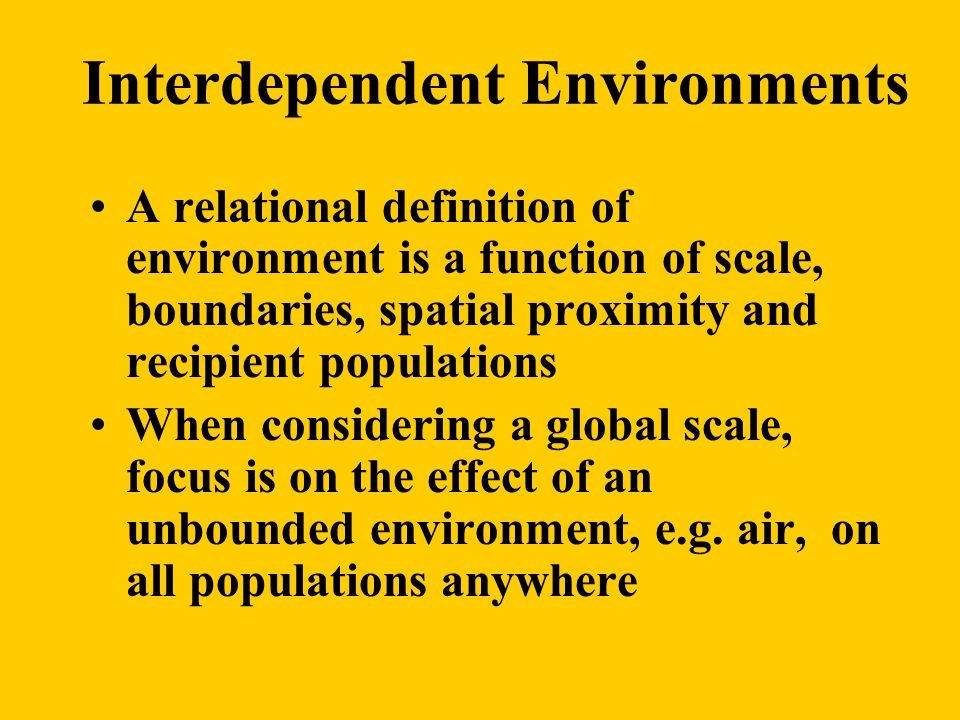 Interdependent Environments A relational definition of environment is a function of scale, boundaries, spatial proximity and recipient populations When considering a global scale, focus is on the effect of an unbounded environment, e.g.