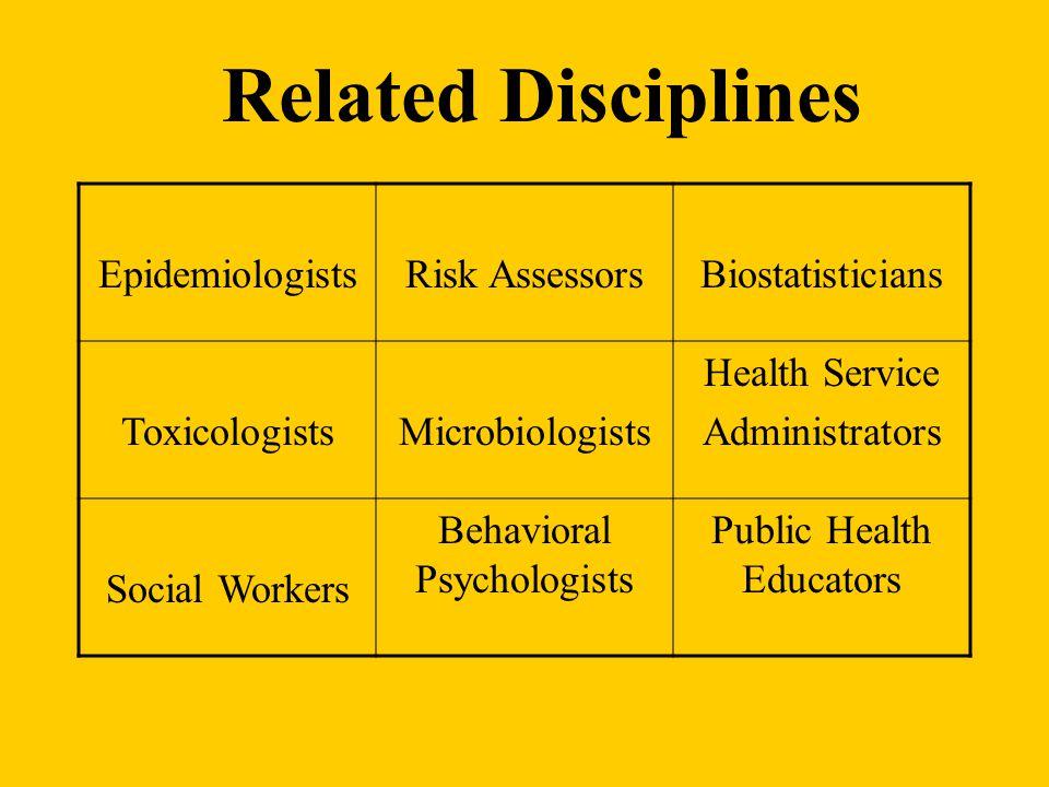 Related Disciplines EpidemiologistsRisk AssessorsBiostatisticians ToxicologistsMicrobiologists Health Service Administrators Social Workers Behavioral Psychologists Public Health Educators