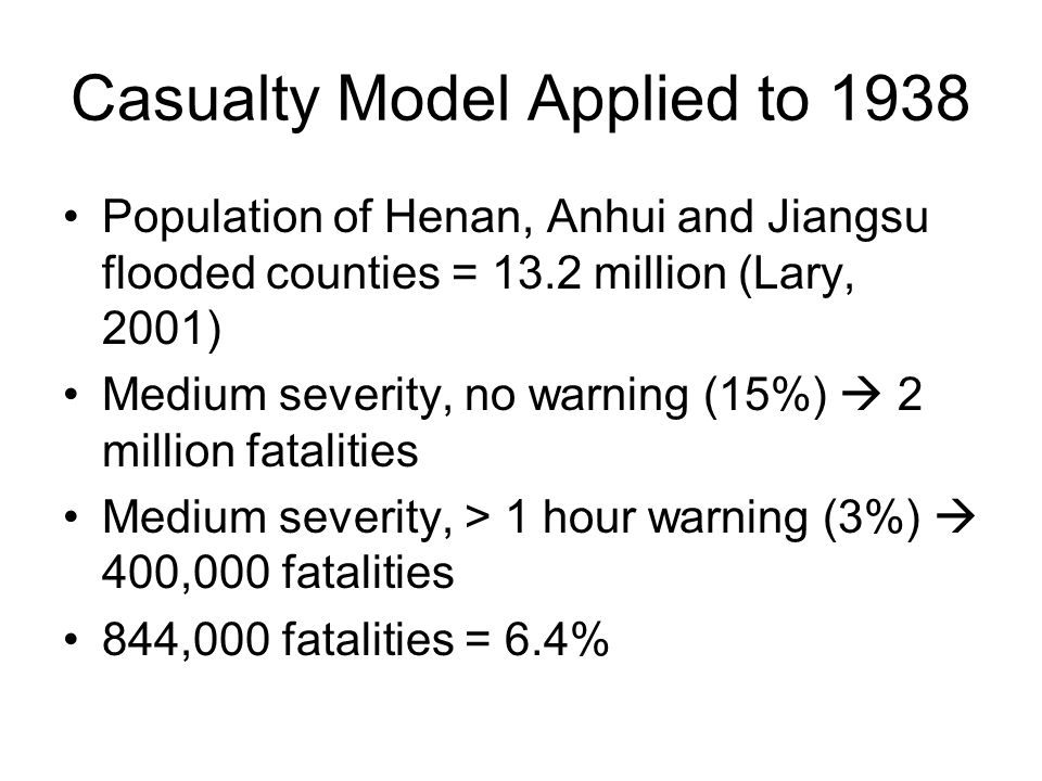 Casualty Model Applied to 1938 Population of Henan, Anhui and Jiangsu flooded counties = 13.2 million (Lary, 2001) Medium severity, no warning (15%)  2 million fatalities Medium severity, > 1 hour warning (3%)  400,000 fatalities 844,000 fatalities = 6.4%