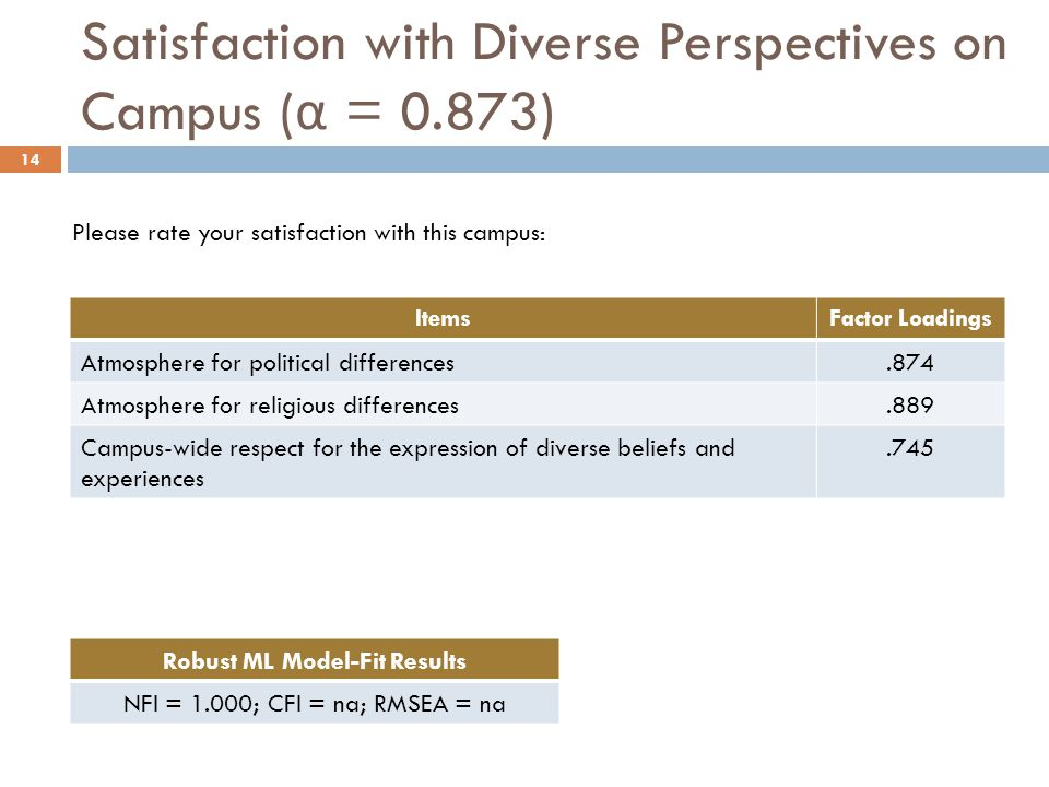 ItemsFactor Loadings Atmosphere for political differences.874 Atmosphere for religious differences.889 Campus-wide respect for the expression of diverse beliefs and experiences.745 Robust ML Model-Fit Results NFI = 1.000; CFI = na; RMSEA = na Satisfaction with Diverse Perspectives on Campus ( α = 0.873) 14 Please rate your satisfaction with this campus: