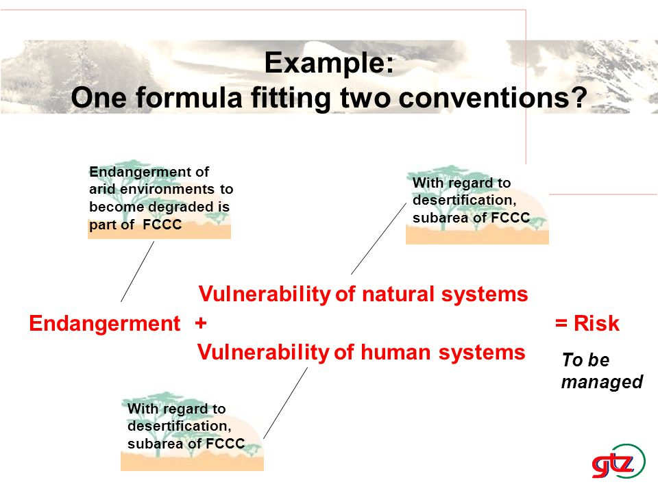 Vulnerability of natural systems Endangerment + = Risk Vulnerability of human systems Example: One formula fitting two conventions? To be managed Enda