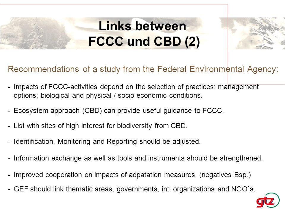 Links between FCCC und CBD (2) Recommendations of a study from the Federal Environmental Agency: -Impacts of FCCC-activities depend on the selection of practices; management options; biological and physical / socio-economic conditions.