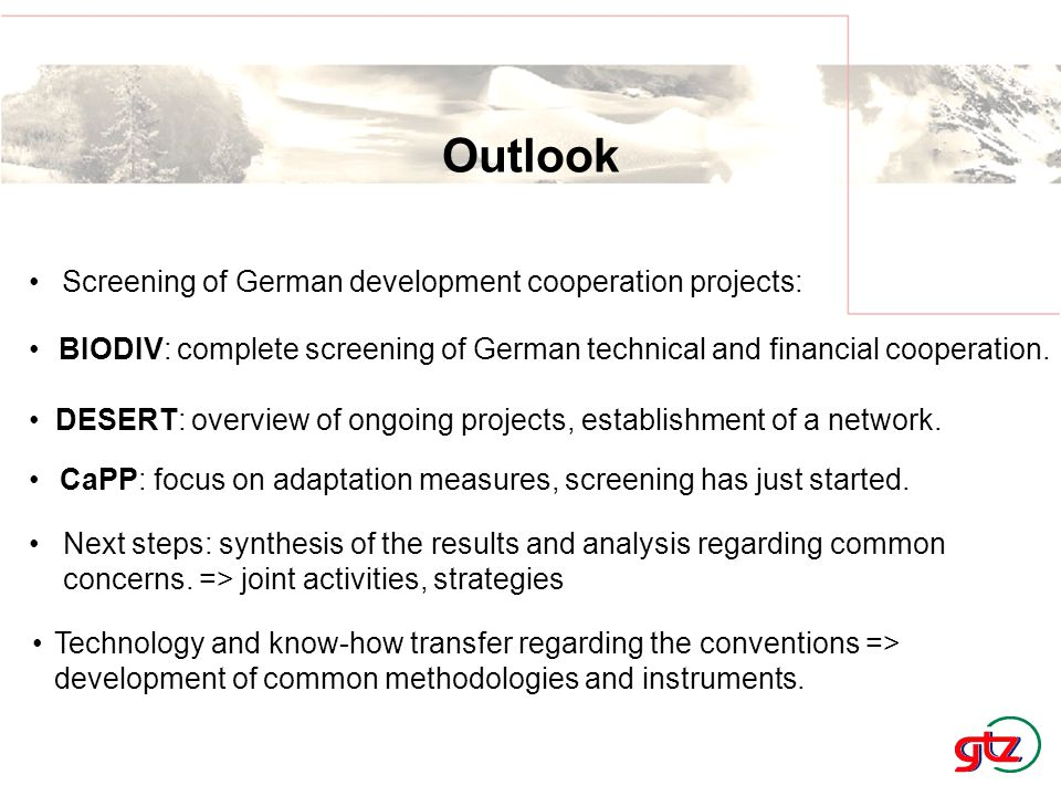 Outlook Screening of German development cooperation projects: Technology and know-how transfer regarding the conventions => development of common methodologies and instruments.