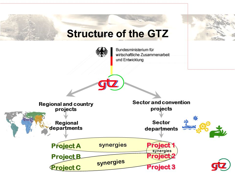 synergies Regional departments Sector and convention projects Regional and country projects Sector departments synergies Project A Project B Project C