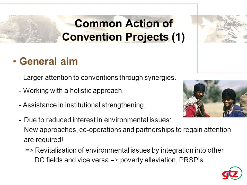 => Revitalisation of environmental issues by integration into other DC fields and vice versa => poverty alleviation, PRSP's Common Action of Convention Projects (1) General aim - Larger attention to conventions through synergies.