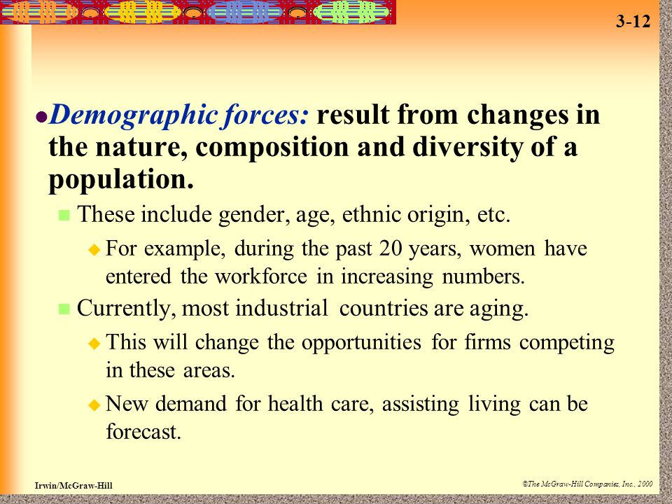 Irwin/McGraw-Hill ©The McGraw-Hill Companies, Inc., 2000 3-12 Demographic forces: result from changes in the nature, composition and diversity of a po