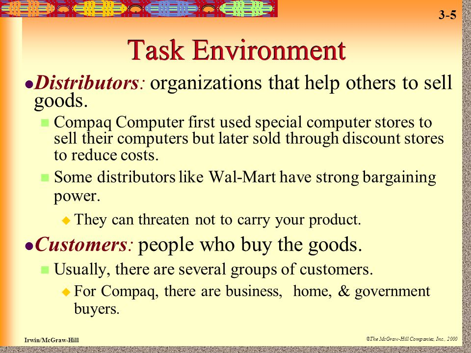 Irwin/McGraw-Hill ©The McGraw-Hill Companies, Inc., 2000 3-5 Task Environment Distributors: organizations that help others to sell goods. Compaq Compu