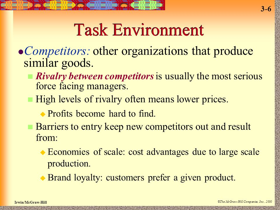 Irwin/McGraw-Hill ©The McGraw-Hill Companies, Inc., 2000 3-6 Task Environment Competitors: other organizations that produce similar goods. Rivalry bet