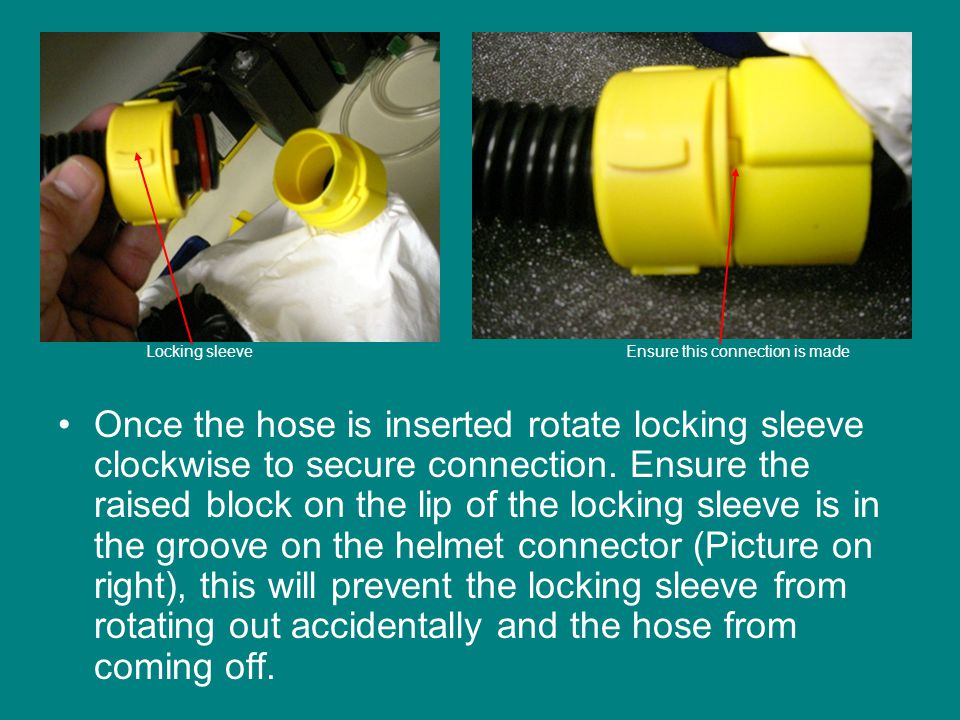 Once the hose is inserted rotate locking sleeve clockwise to secure connection.