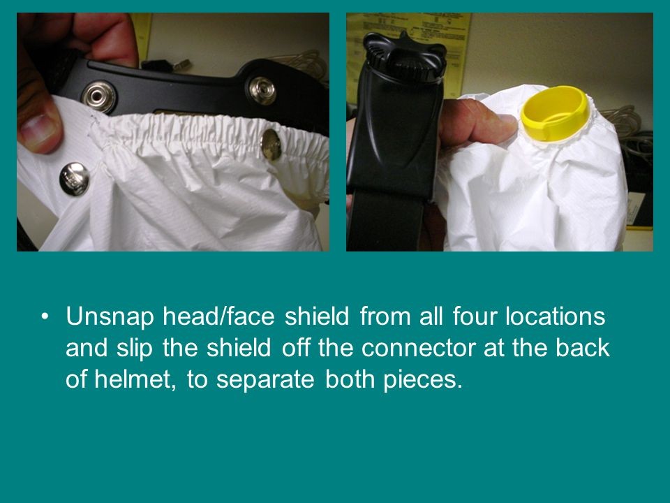 Unsnap head/face shield from all four locations and slip the shield off the connector at the back of helmet, to separate both pieces.