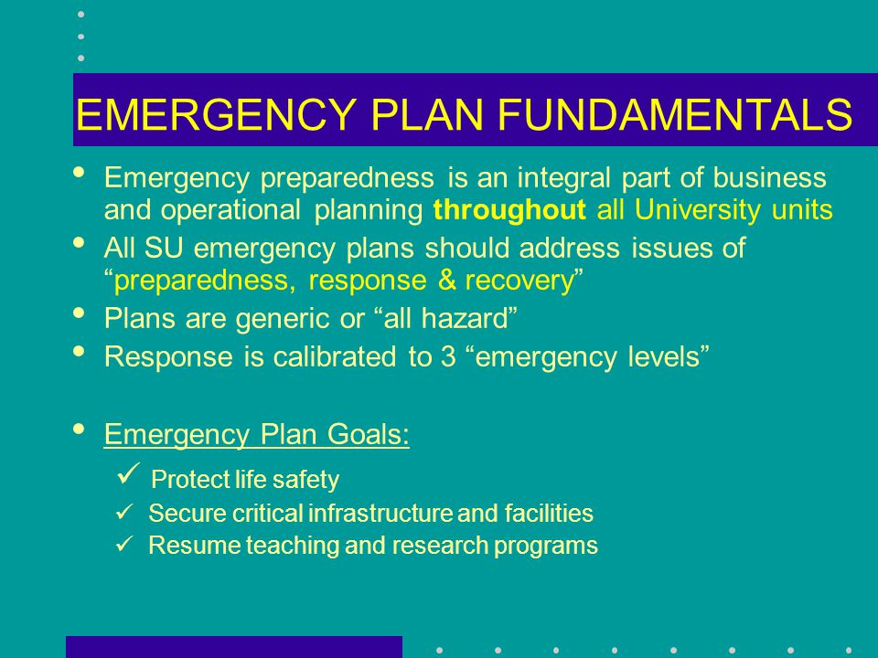 New Cabinet Planning Guidelines Additions – focus on program resumption planning and identifying key personnel Use as a basic template Revise plans by end of spring quarter (June 15 th ) SOC plans will be reviewed over summer University-wide exercise on Wednesday, November 12, 2003 (all SOCs are expected to participate)