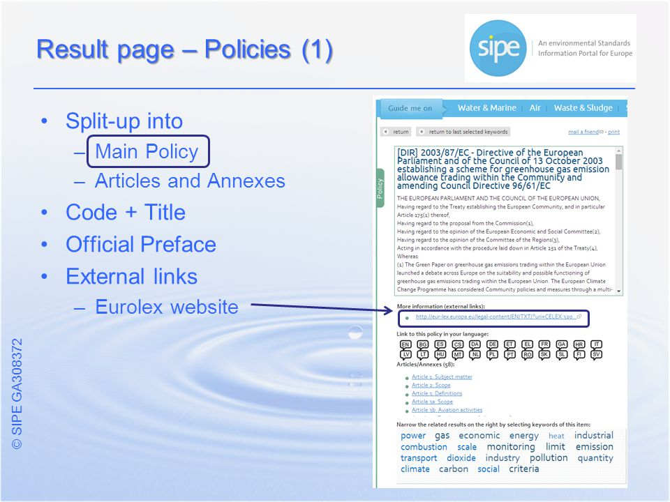 © SIPE GA Split-up into – –Main Policy – –Articles and Annexes Code + Title Official Preface External links – –Eurolex website Result page – Policies (1)