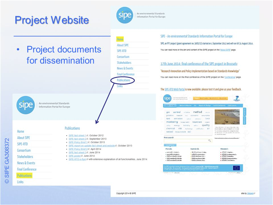 © SIPE GA Project documents for dissemination Project Website