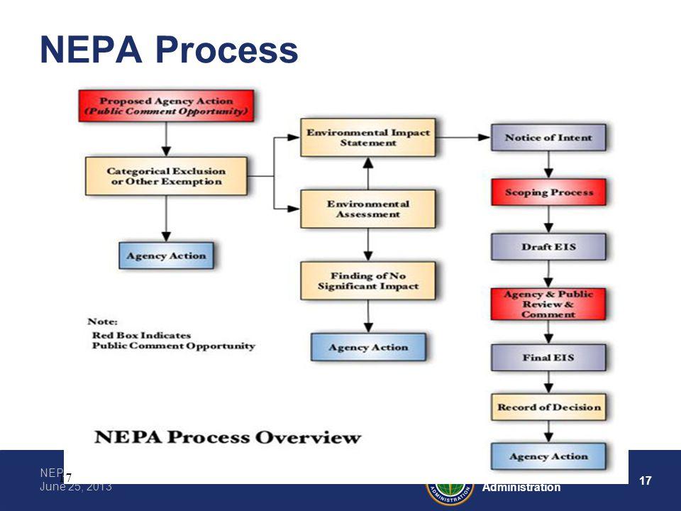 17 Federal Aviation Administration NEPA, CEQ, and the NEPA Process June 25, 2013 NEPA Process 17